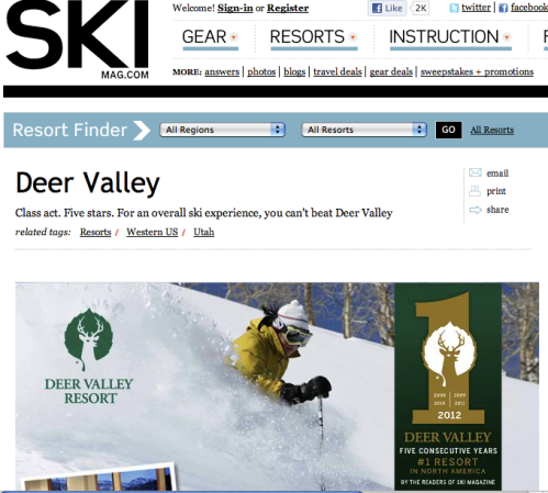 Ski Magazine's #1 Ski Resort in America Deer Valley